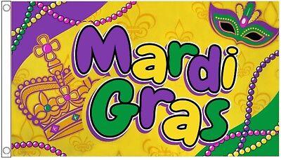 Mardi Gras Karneval Perlen Und Maske 5'x3' Flagge