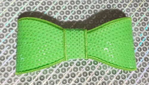 """XL 5"""" Sequin Bow embellishment for boutique crafts NEON GREEN"""