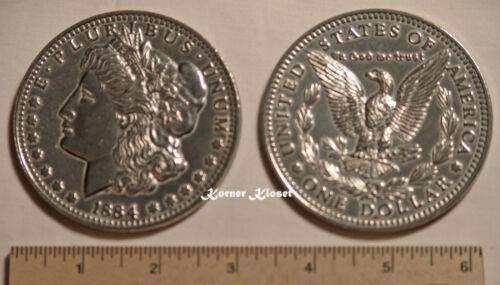 """Big 3"""" Inch Novelty Metal Coin Replica of an 1884 Morgan Silver Dollar"""