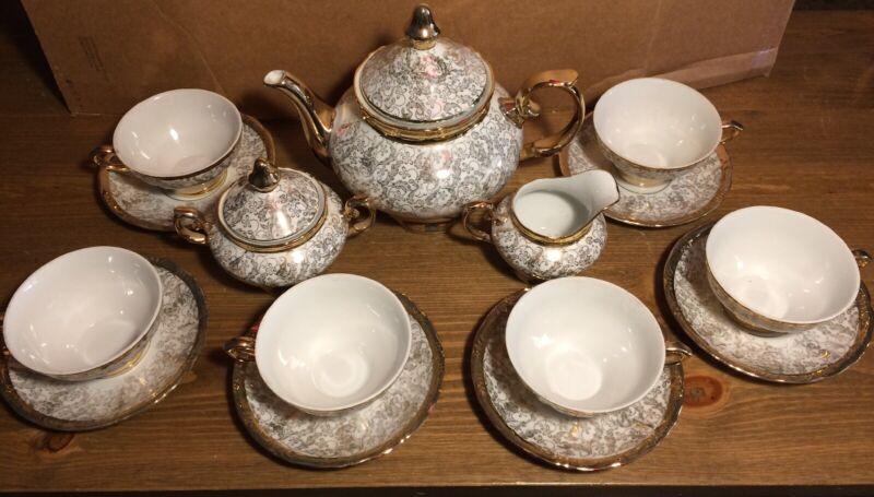 Vintage Bavaria China Tea Set Gold And White 15 Pieces