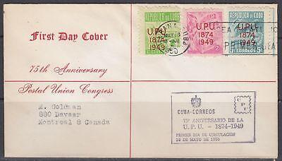1Cuba Scott 449-51 FDC - 1949 UPU Issue