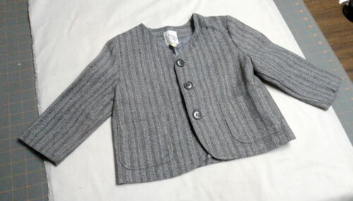 Vintage Boys Wool Striped Gray Tweed Suit Jacket, Lined, Tommy Adaren Toys