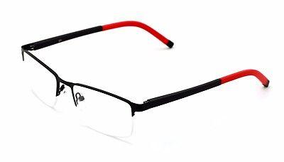 Men Half Rimless Rectangle Non-prescription Glasses Frame Clear Lens Eyeglasses ()