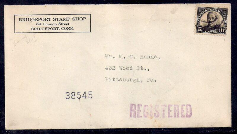 1931 Registered Stamp Shop Cover - Bridgeport, Conn to Pittsburg - Scott 623
