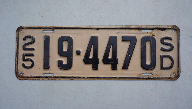 1925 SOUTH DAKOTA License Plate - NICE ORIGINAL