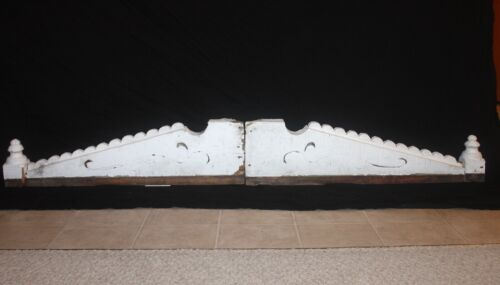 "VICTORIAN Peaked Pediment Gable Ornamentation 52"" w x 28"" h Salvage Chippy Paint"