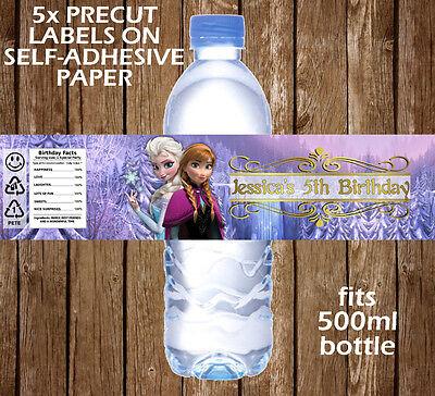 Frozen Water Bottle Labels (PERSONALISED FROZEN WATER BOTTLE LABELS BIRTHDAY CHILDREN PARTY FAVOURS GIFT)