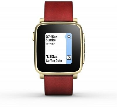 Pebble Time Steel Smartwatch E-paper Display With Leather Band, Water Resistant