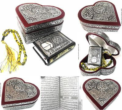 Kleine Koran Truhe Herz+Gebetskette+Quran*Muslim Islam hijab Abaya Allah Tesbih*