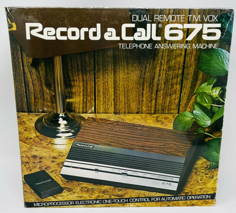 Vintage Record a Call 675 Cassette Tape Answering Machine VOX Wood Grain