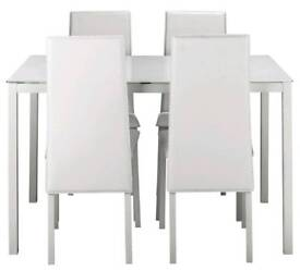 Brand new white glass table with 4 chairs