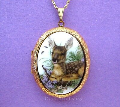 DEER Porcelain BABY FAWN & Violets CAMEO Costume Jewelry Locket Pendant Necklace
