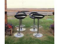 4 Black & Chrome Breakfast Bar Stools