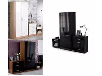 Brand New 3 Piece Bedroom Set Black White Oak Walnut High Gloss Fronts Wardrobe Chest Bedside