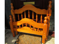 Single Pine Bed with Shaped Head and Foot