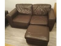 Two-seater Brown Leather Sofa with Footstool