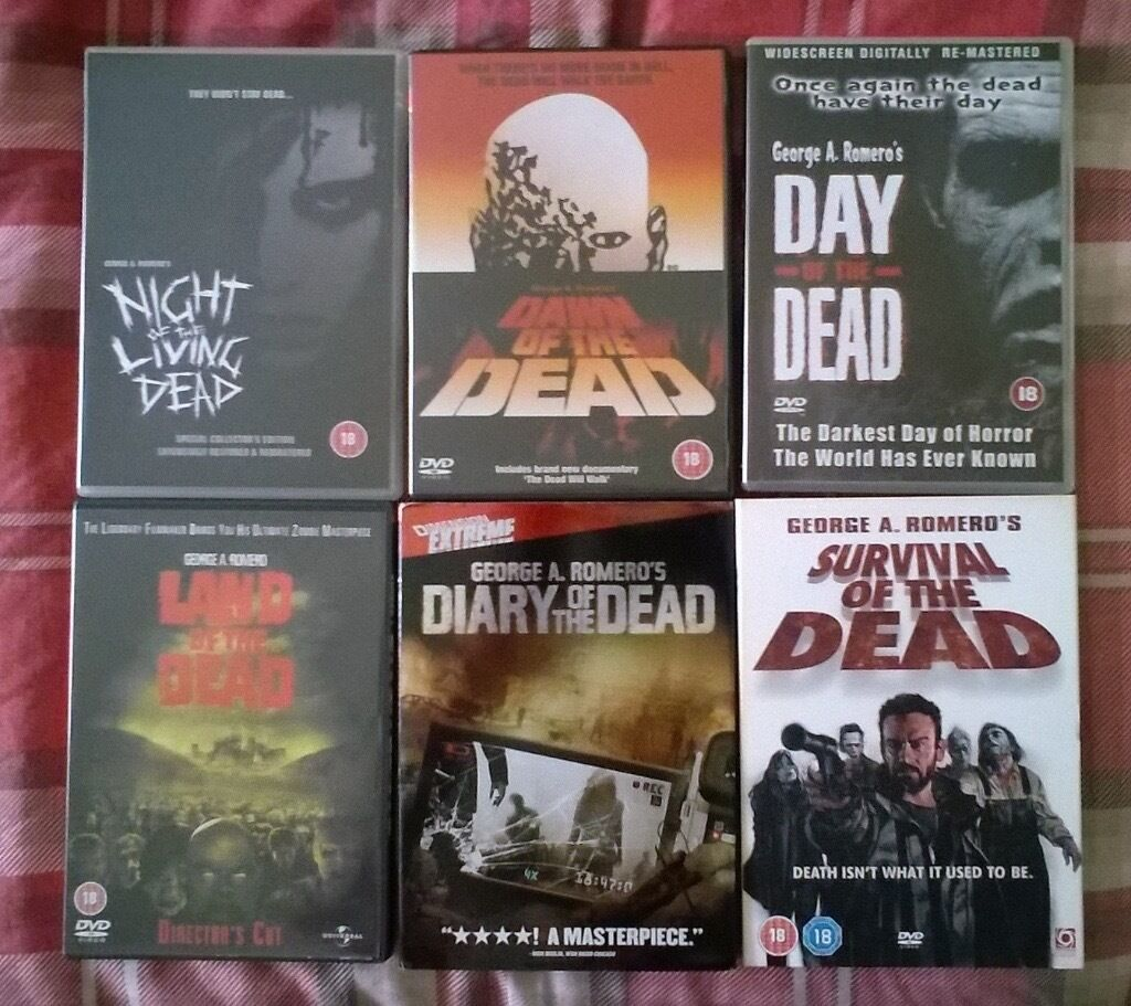 Night of the Living Dead, Dawn of the Dead, Day of the Dead DVD Collectionin Leith, EdinburghGumtree - Night of the Living Dead (1968) Dawn of the Dead (1978) Day of the Dead (1985) Land of the Dead (2005) Diary of the Dead (2007) Survival of the Dead (2009) 6 films in total, Some films require a multi region DVD player Very good condition, some never...
