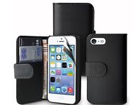 iPhone 5C Flip Wallet Case (Black, Blue, Red, Pink, Purple) NEW & WRAPPED(Free P&P)