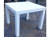 SIDE TABLE.55cm x 35cm.in top condition.Legs can be removed.£7.00.WHITE or BLACK