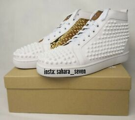 84964cbc46e1 Mens Christian Louboutin Spikes White and Gold 2018 Edition £120 Shoes  Spike Boots Red Sole