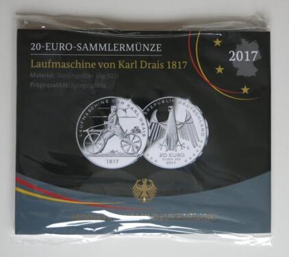 20 Euro Sammlermünze 2017 G Laufmaschine Karl Drais Pp In Baden