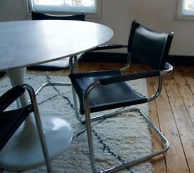 Bauhaus Mid Century Chrome Leather Chairs Set