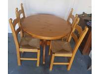Solid Oak Round Extendable Table and Chairs