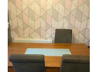 Dining table and 4 distressed look leather chairs