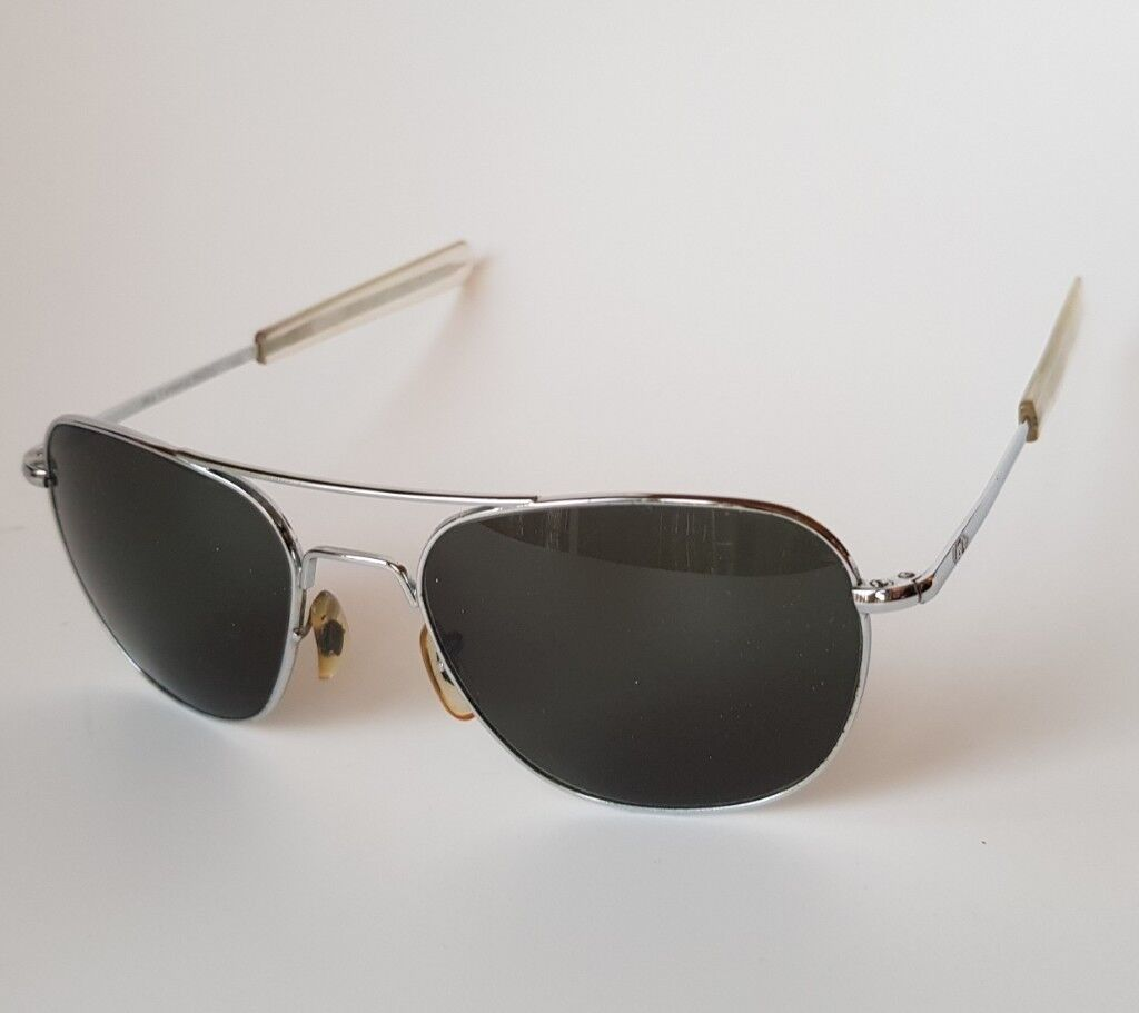 American Optical Original Pilot Sunglasses 57 Matte Chrome  af577f6daa