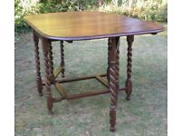 Antique/Edwardian Oak Gateleg Drop-leaf Table, Barleytwist legs