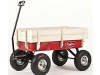Pull along large metal/wood cart