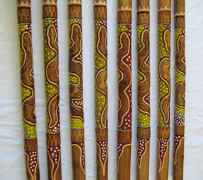 ABORIGINAL DIDJERIDU SNAKE HANDCARVED DOT PAINTINGS ART