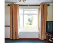 2 SETS ( 4 curtains ) SUEDETTE LINED EYELET CURTAINS AND 2 SILVER EXTENDABLE CURTAIN POLES.