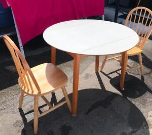 Very Nice Cute Drop Side Table Complete With Two Wooden Chairs