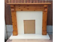 """52"""" Pine Mantle c/w Micrograin Marble Back and Hearth"""