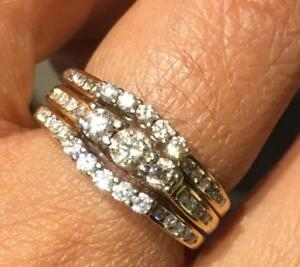 Brand New 3 pieces NATURAL Diamond engagement and weeding ring in 14K Gold  (Size 6.5),  Could be used as cocktail ring