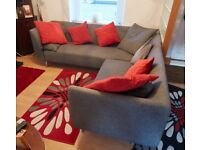IKEA FABRIC CORNER 4 SEATER SOFA WITH STEEL BASE AND GREY WOOL LOOSE COVER