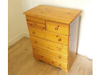 Solid wood chest of drawers - excellent condition. Timber Pine