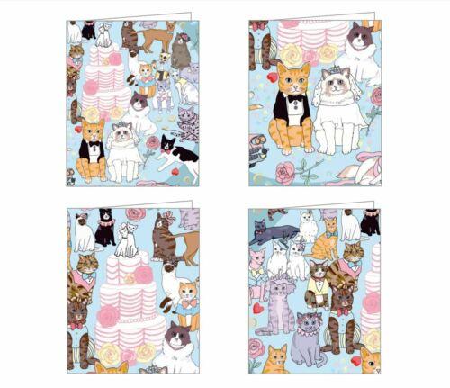 4 CAT KITTEN GREETING CARDS & ENVELOPES Wedding Notecards by Karen Mabon - NEW