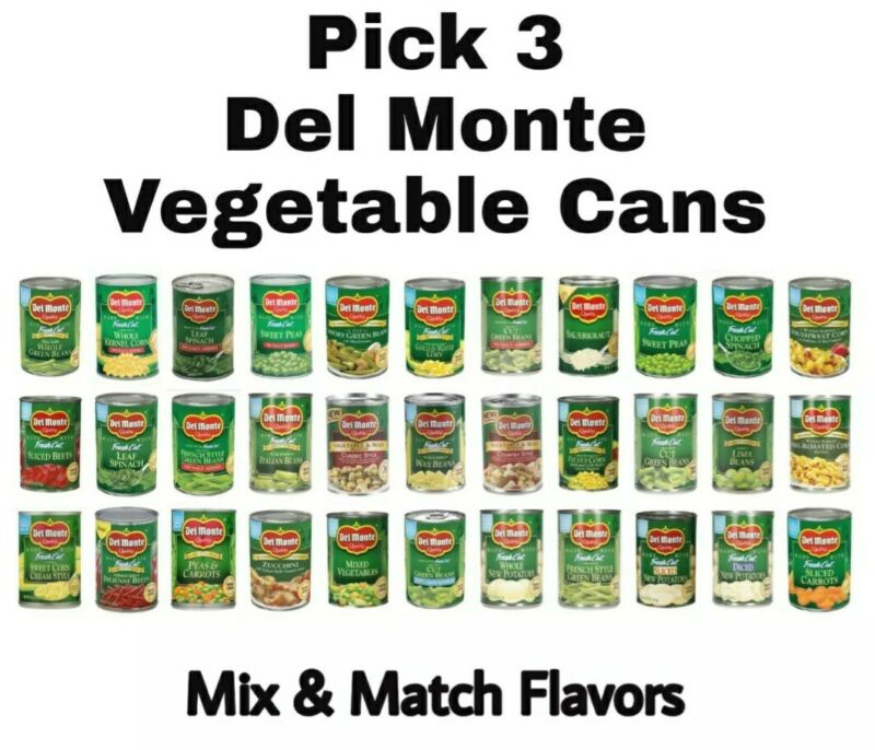 Pick any 3 Del Monte Vegetable Cans Mix & Match: Corn, Green Beans & More