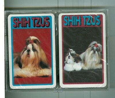 "Two Sealed Non-Standard Decks Playing Cards ""Shih Tzus Dogs"" by Tower"