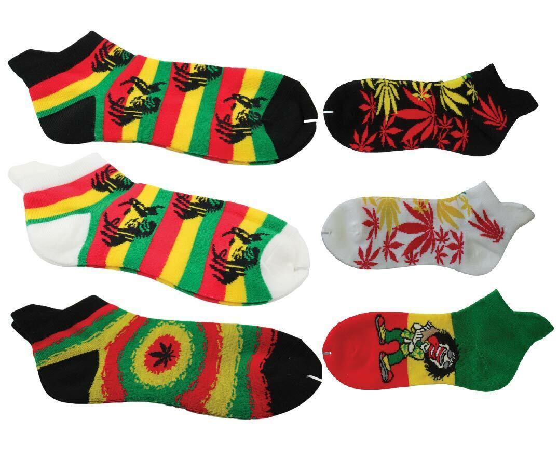 Rasta Bob Marley Weed Cannabis leaf Trainer Socks