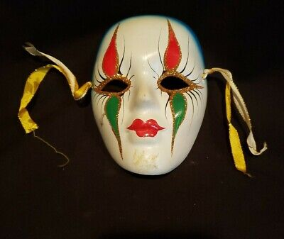 """Porcelain Ceramic Painted Wall Hanging Face Mask 5 1/4"""" x 4"""