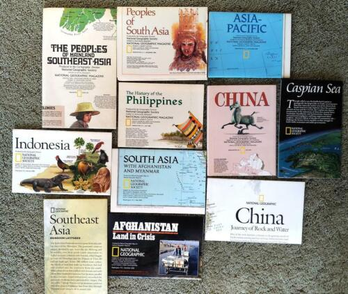Lot of 11 National Geographic maps, Asia, 1971-2009