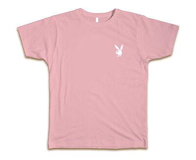 Playboy Bunny Custom Tee T-Shirt Hefner New-Pink w/ White Bunny