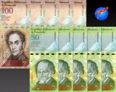 Venezuela Banknotes 50 & 100 Bolivares UNC Bundle Lot of 10 Pcs