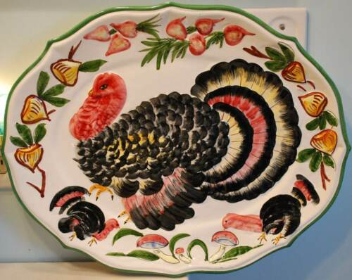 "Rare VINTAGE 20"" TOM TURKEY Thanksgiving Tray Platter HAND PAINTED ITALY POTTERY"