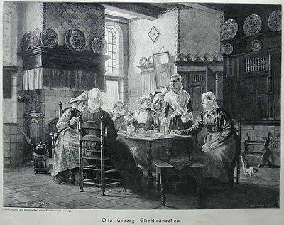 Tee , Teekränzchen in Ostfriesland - Stich v.1897