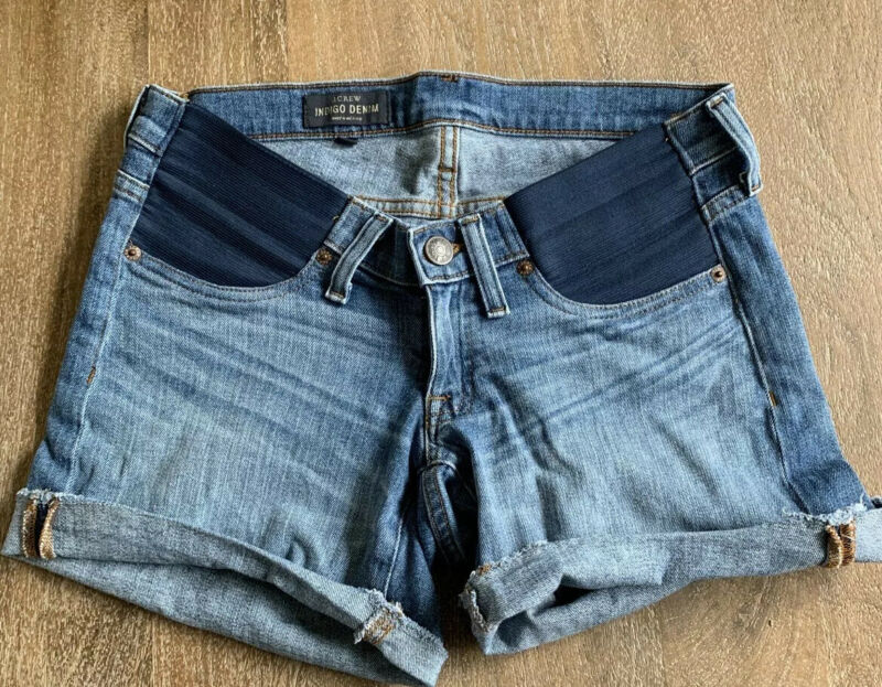 Jcrew Maternity Indigo Denim Jean Roll-up Shorts Size 26/27