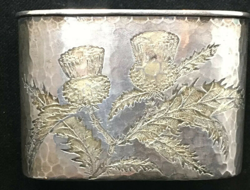 Tiffany Japanesque Sterling Silver Flask Base Acid Etched Thistles 1880's
